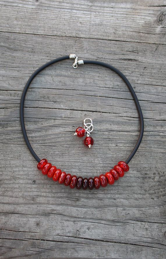 Red necklace and earrings. Glass lampwork set от LikeAGlassShop
