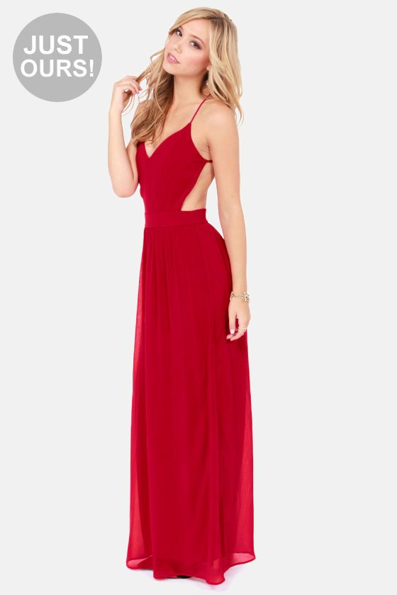 LULUS Exclusive Rooftop Garden Backless Wine Red Maxi Dress at LuLus.com!