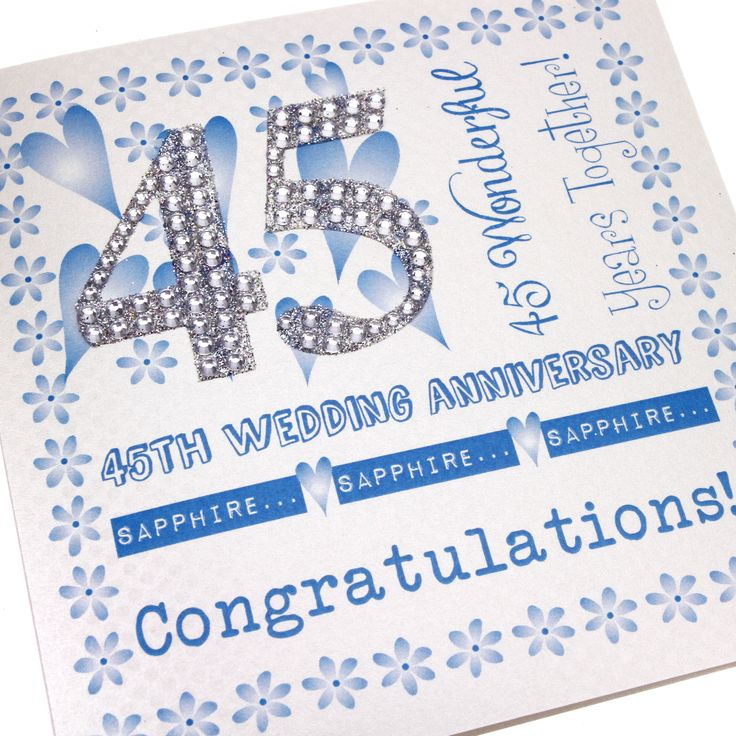 Handmade Sapphire Anniversary Card Blue Floral Border