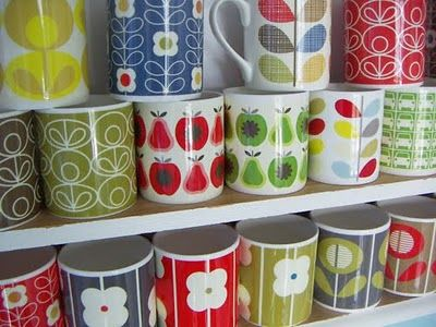 some of my lovely orla kiely mug collection.