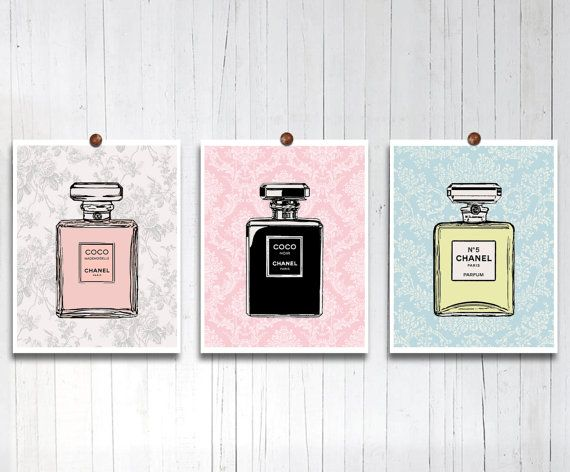 Original Chanel art Poster print French perfume prints Giclee poster Teen girls room decor Gift for her Paris apartment Wall decor 11x14 SET...