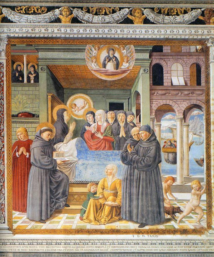 ❤ - BENOZZO GOZZOLI (1421 - 1497) - Death of St. Monica. 1464-65. Fresco, 220 x 230 cm. Apsidal Chapel of Sant' Agostino, San Gimignano, Italy.