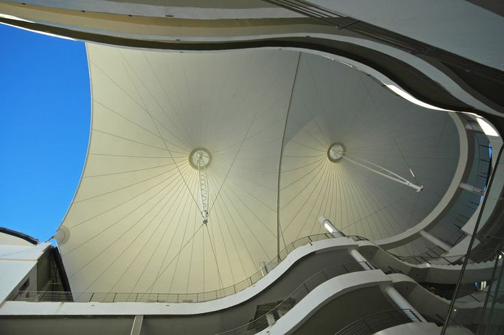 Genesis on Fairmont - Tension Structures  #tensilestructures #tensilemembranes #fabricstructures #roof #ceiling #mall #shopping
