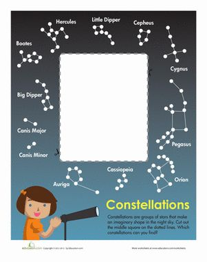 First Grade Earth & Space Science Paper Projects Worksheets: Constellation Chart