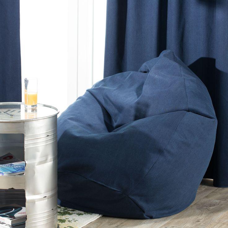 Worek do siedzenia navy jeans, Ø50x85 cm - Dekoria #mlodziez #youth #room #pokoj #inspiration #decoration #style #dom