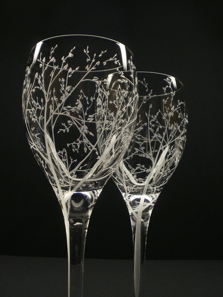 Two White Wine Glasses . 'Branches & Leaves' . Hand Engraved Wedding Gift . Bridal Party Crystal Glass Stemware.