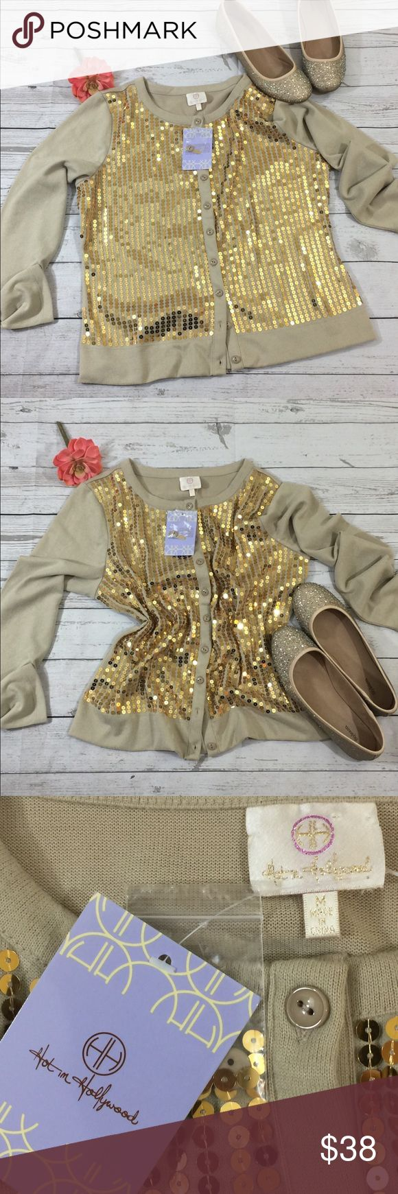 Hot In Hollywood sequin gold cardigan Gorgeous and flashy Hot In Hollywood sequin gold cardigan. New with Tags NWT Hot in Hollywood Sweaters Cardigans