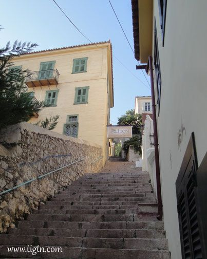 Steps connecting the narrow alleys in the old town of #Nafplio, #Peloponnese - #Greece