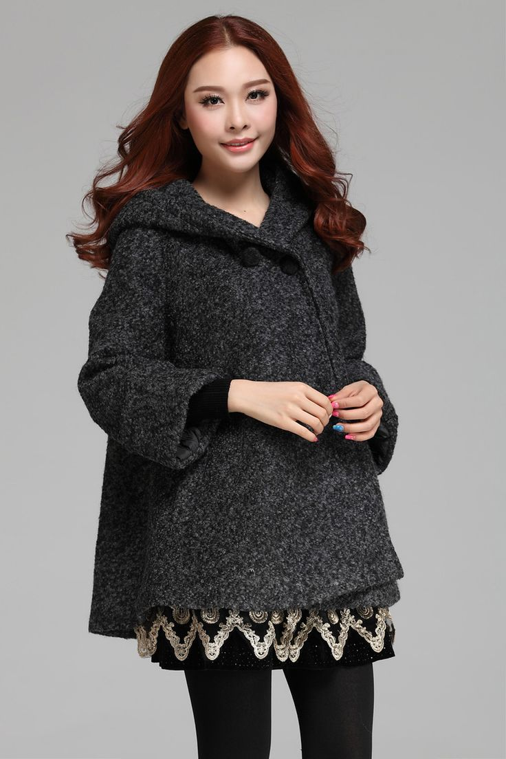 Grey Woolen Trench Plus Size Cloak Outerwear Hoodies Winter Thick Warm Women Coats