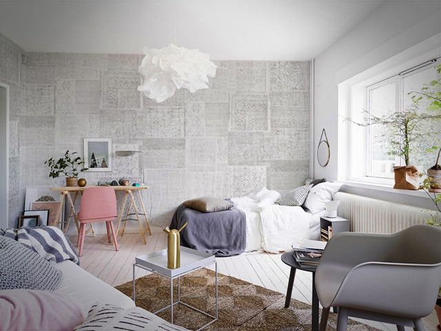Patchwork Pale Wallpaper by WYNIL. The timeless feel of weaves in your home or office. Super easy installation, worldwide shipping :)