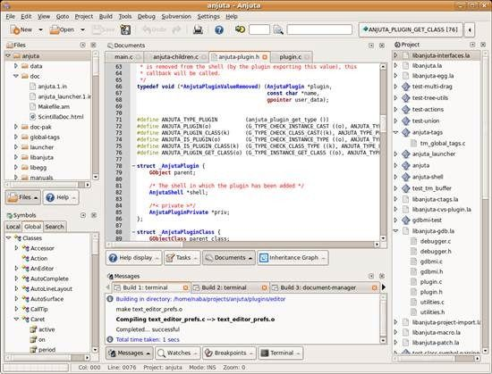 Anjuta DevStudio is a versatile Integrated Development Environment (IDE) for software development on GNU/Linux. It featuring many advanced programming facilities such as project management, application wizards