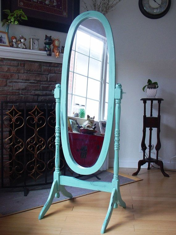 Hand painted duck egg blue cheval oval mirror full body for White long standing mirror