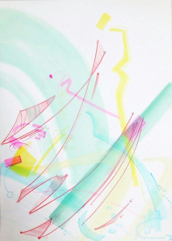 기타치는 제스츄어의 발전된 표현과 팔이 책상에 닿는 면적을 표현한 작품을 배치시켜 표현해보았다. 좀 더 색이 풍부해졌고 이전의 움직임 표현을 통해 다이나믹한 느낌도 낼 수 있었다.