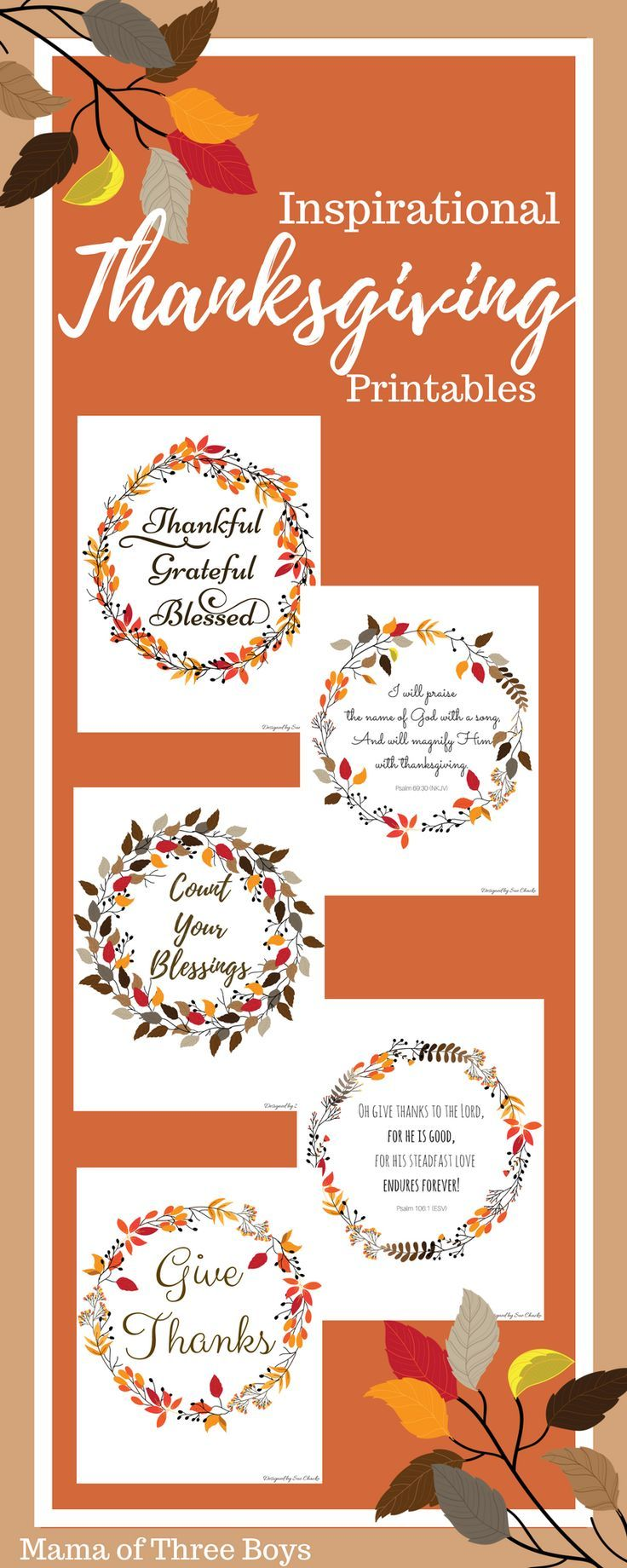 Free Inspirational Thanksgiving Printable. #Thanksgiving