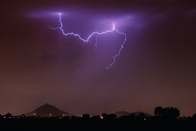 Lightning over Camelback Mountain, the storms in AZ are fabulous!