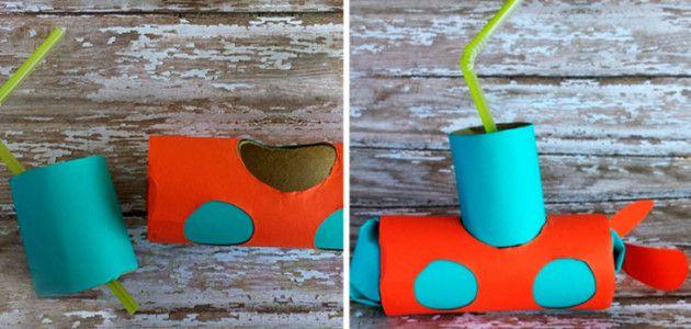 Manualidades con tubos de papel higi nico submarino - Material para manualidades infantiles ...