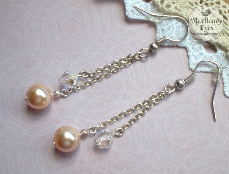 Long chain pearl earrings Pearl crystal drop earrings Dangle earrings Art Deco Style earrings Swarovski crystals pearls Bridal earrings by MrsBeadyEyes on Etsy
