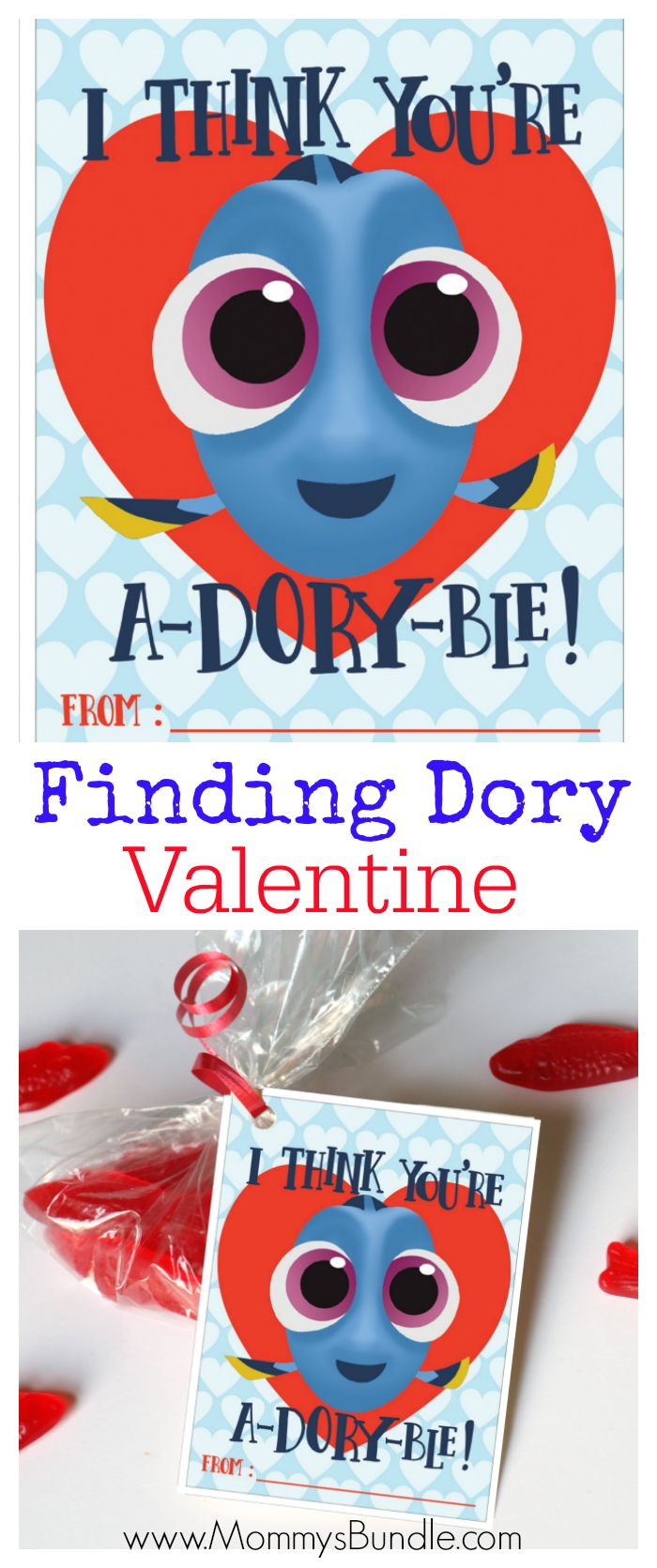Adorable Finding Dory printable Valentines for kids! The perfect Valentine for a preschooler or small child to share with classmates at school. Click through to get the free printables!