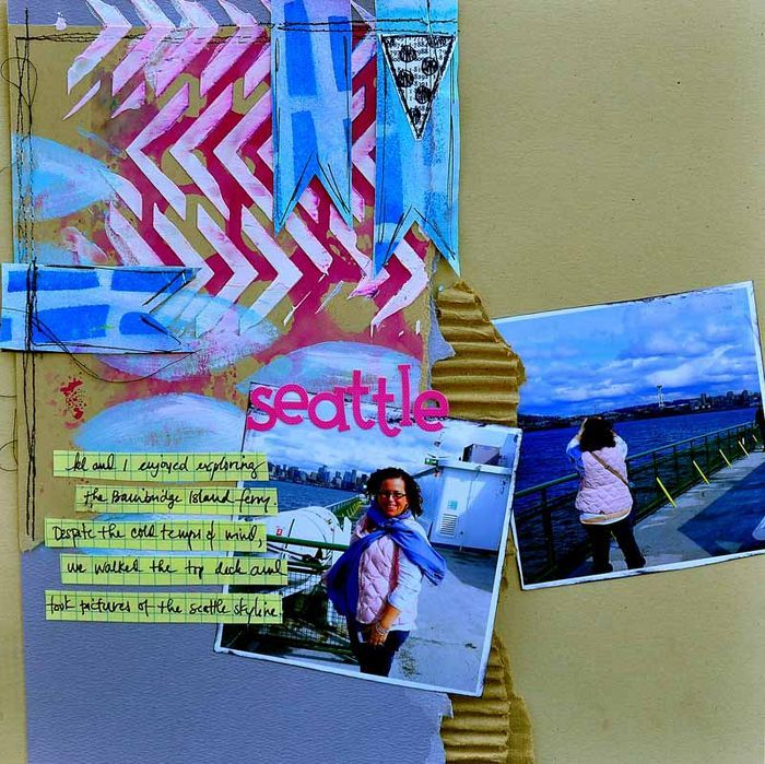 layered stenciling on scrapbook page by Dina Wakley