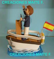 FOFUCHAS. Manualidades y Creaciones Maite: FOFUCHO NIÑO COMUNION en barco hucha chaqueta azul marino