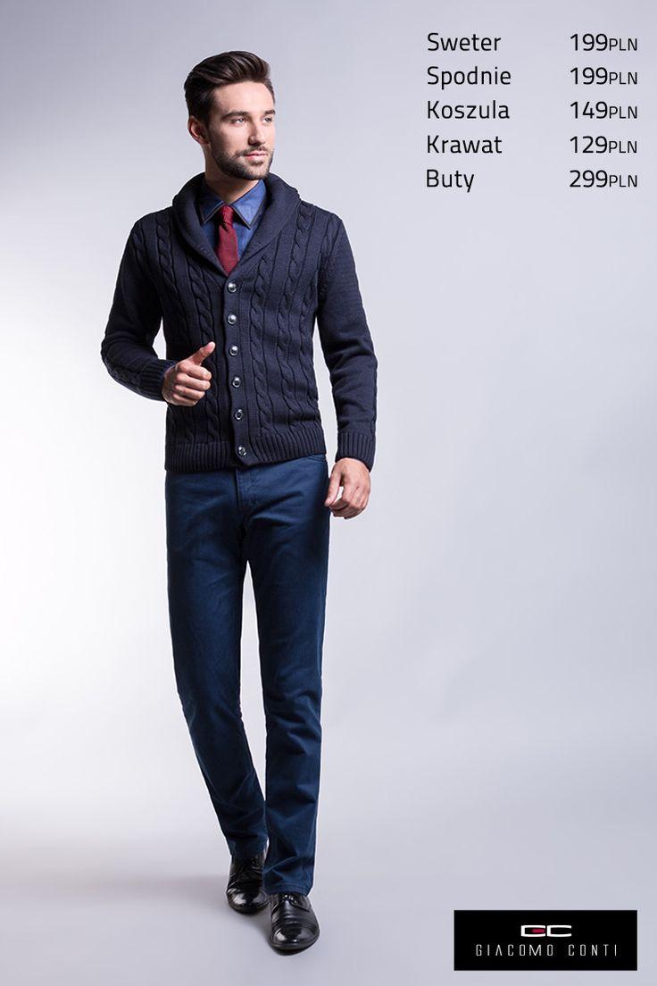 Propozycja casualowa ze swetrem rozpinanym Clemente 13/105 CS, niebieską koszulą z czarnym obszyciem kołnierzyka Damiano slim 13/04/17 i spodniami Federico 13/30T #giacomoconti