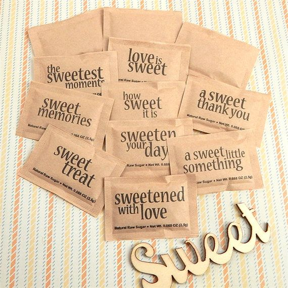 "Sweeten up your event with a special, unique touch! Our ""Sweet Sayings"" Natural Raw Sugar Packets are a delightful surprise on the party table or coffee and tea bar at any event. Turn what is normally boring, dull sweetener packaging into a unique detail. Each packet features an assortment of pre-printed sayings, such as ""Sweet Memories,"" ""Sweetened With Love,"" ""Sweetest Day Ever,"" ""Love Is Sweet,"" ""Sweet Beginnings,"" and ""A Sweet Thank You"".  Put them in a bowl at a baby or wedding shower…"