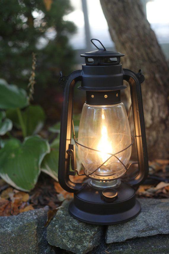Electric Hurricane Lantern Flat Black Finish Table Lamp