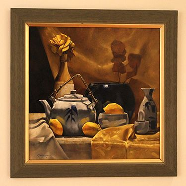 """""""Teapot with Wooden Flower"""" by Larry Chestnut, part of the Mercer County Artists exhibit at the Gallery at Mercer, Feb. 20 to March 23, 2017."""