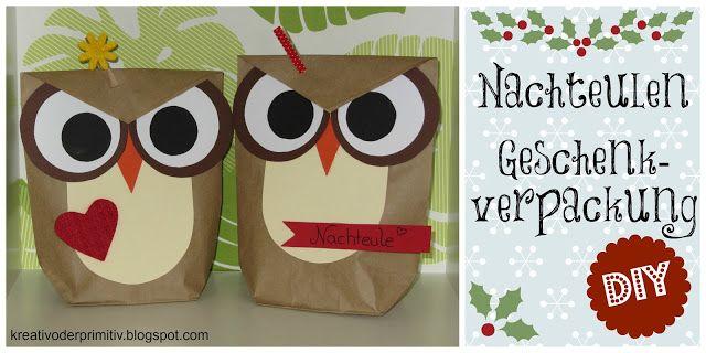 Owl gift wrapping Eule Nachteule Geschenk Verpackung Idee DIY selber ...