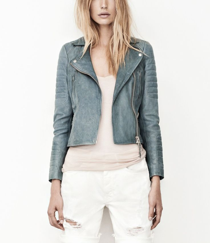 Sail Leather Biker Jacket...looks like denim...LOVE. But I wouldn't buy a jacket made of leather :(