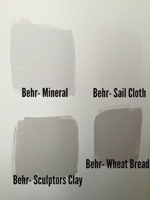 Warm neutral greige paint colors - Behr Mineral, Behr Sail Cloth, Behr Sculptors Clay, behr wheat bread
