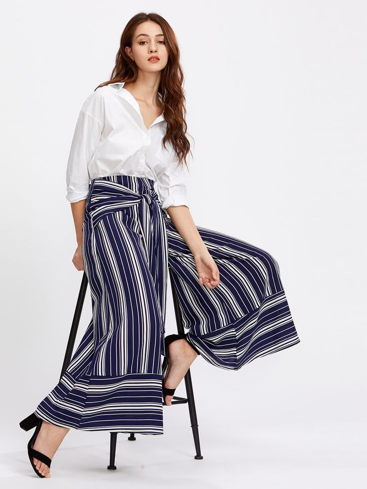 Shop Self Tie Mixed Stripe Palazzo Pants online. SheIn offers Self Tie Mixed Stripe Palazzo Pants & more to fit your fashionable needs.
