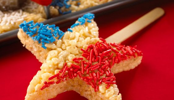 Rice Krispies® Fourth of July Cut-Outs: Cutouts, Desserts Ideas, Fourth Of July, Stars, Recipes, 4Th Of July, Snacks, Cut Outs, Rice Krispie Treats