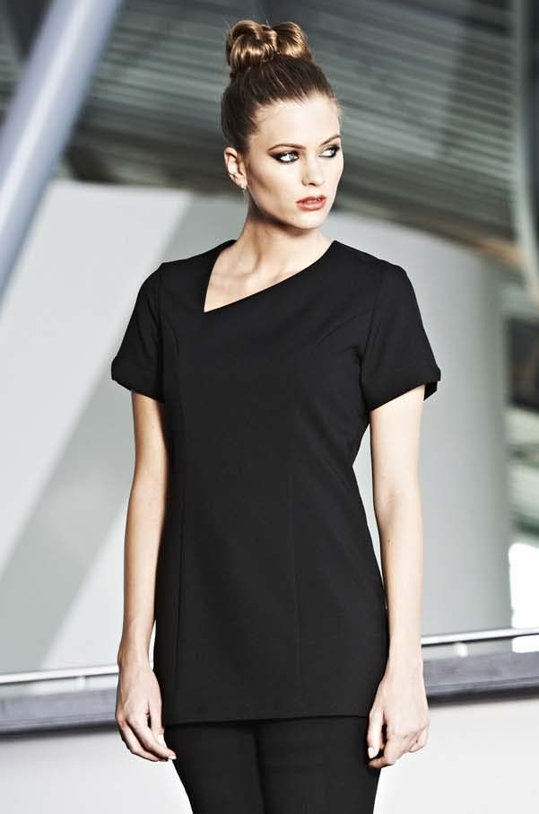 Black scooped angle neckline beauty tunic beauty for Uniform spa therapist