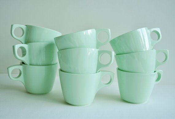 Vintage Boonton Mint Green Coffee Cups Set of 9 by FairyLynne, $20.00
