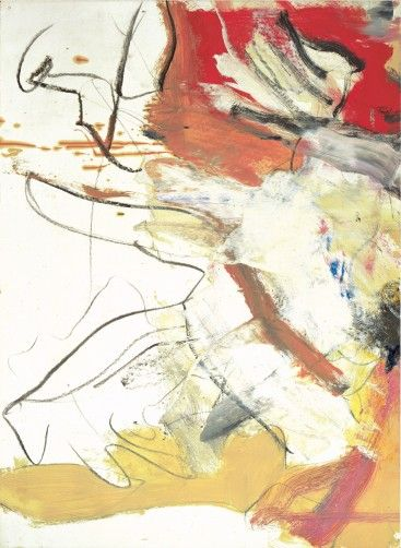 Willem de Kooning (1904-1997)w as a Dutch American abstract expressionist.  & painted in a style referred to as Action painting, and was part of a group of artists that came to be known as the New York School. The hallmark of de Kooning's style was an emphasis on complex figure ground ambiguity. Background figures would overlap other figures causing them to appear in the foreground, which in turn might be overlapped by dripping lines of paint thus positioning the area into the background.