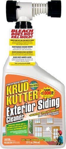 KRUD KUTTER ES32H Exterior Siding Cleaner, 32-Ounce by Krud Kutter. $15.16. From the Manufacturer                Is your exterior siding showing signs of wear, weather and dulling?  Krud Kutter's Exterior Siding Cleaner can revitalize and renew; while removing tough dirt and mildew stains from vinyl, wood, and aluminum siding.  Super concentrated formula, cleans up to 4000 square feet per gallon.  Removes gray weathering on wood, chalking, and oxidation.  Can be applied ...