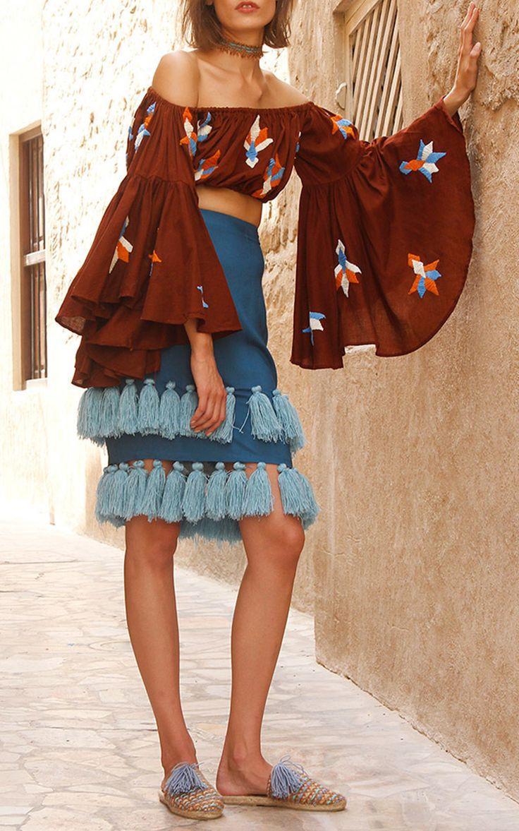 Susaa Knee Length Tassel Skirt by MOCHI for Preorder on Moda Operandi