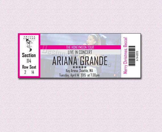 Custom Concert Ticket for Ariana Grande Honeymoon Tour Gift Certificate  by DesignsMadeSimple