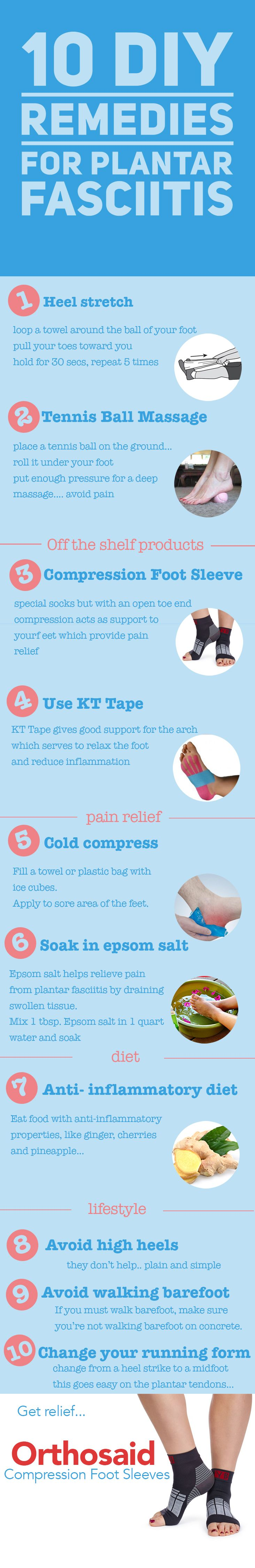 Plantar fasciitis treatment : Discover 10 DIY exercises you can do on your own. They include stretches and massages that help with heel and arch pain relief. Do these to complement your shoes and sandals.   Also, these sleeves help a lot http://www.amazon.com/Orthosaid-Compression-Yorkberg-Plantar-Fasciitis/dp/B00VEB2F9I/?ie=UTF8&keywords=compression+foot+sleeve