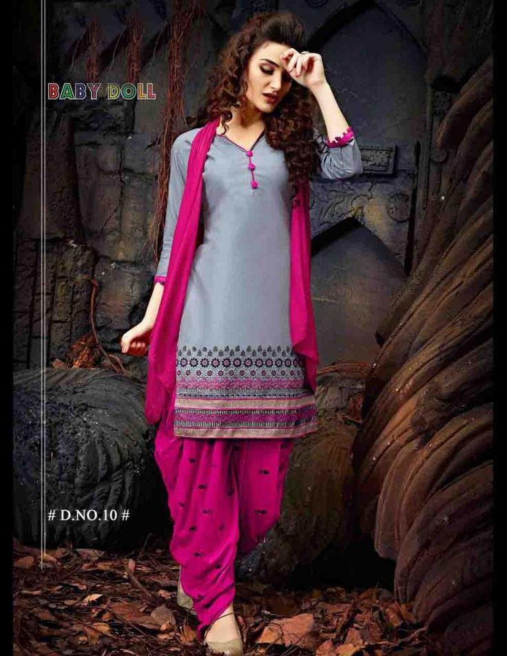 Awesome #Grey and #Dark Pink Salwar Kameez  Online Shopping in India.