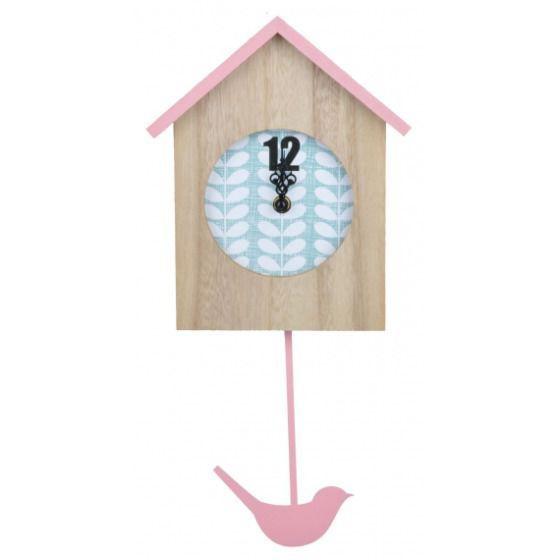 Zegar z ptaszkiem różowy