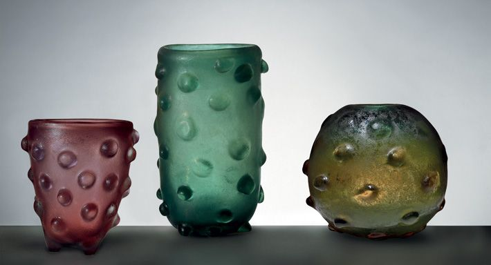"Carlo Scarpa, Corrosi (""corroded glass""), designed for Venini, 1936–38. Corroded glass featured a rough surface, caused by hydrofluoric and sulphuric acid in solution. The glass piece, often clear and colored, was covered with sawdust soaked in acid. From Carlo Scarpa: Venini, 1932–1947 by Marino Barovier (Skira)"