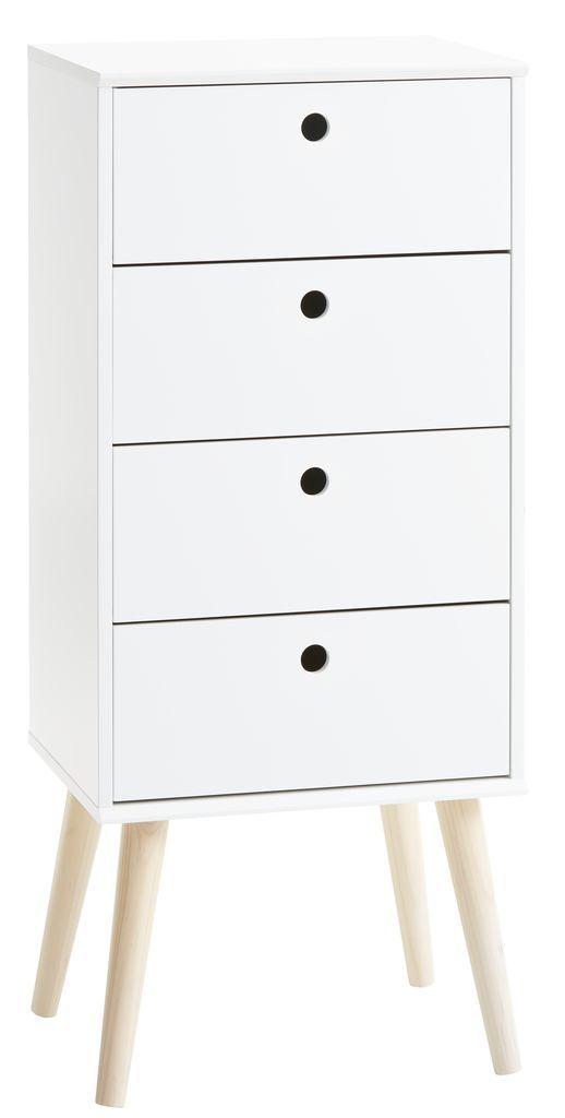Lipasto 4 laatikkoa OPLEV valk./mänty | JYSK