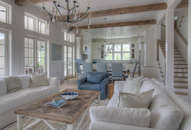white slip covered furniture with blue accents | Living room slipcovered…