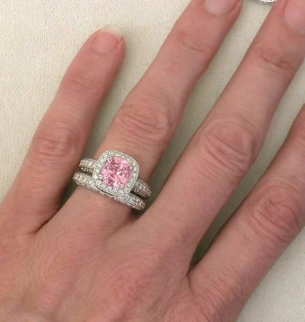 Pink diamond engagement ring rare 391 ctw cushion cut for Wedding rings with pink