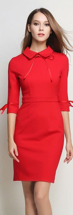 Red Peter Pan Collar Dress , with shorther sleeves