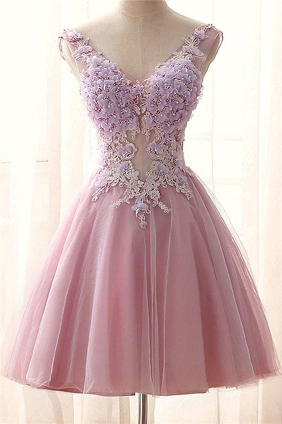 Tight Prom Dresses, Chic V Neck Pink Tulle Applique Flower See Through Short Prom Dress