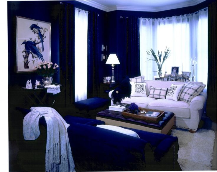 Marvellous Navy Blue Cream Living Room