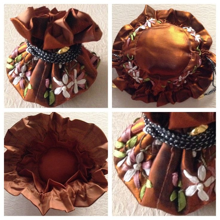 Ribbon-embroidered jewellery pull string pouch - BRONZE. Has 8 internal side pockets for fine necklaces or chains, earrings & rings. The central compartment is for bangles, bracelets & larger pendant necklaces @ AUD$10.00 + postage or local pick up available.